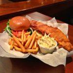 Legends Fish Sandwich, fries, and Cole slaw.